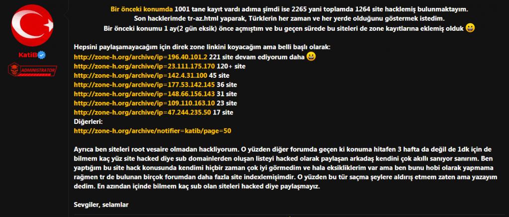 Katib 1200 web sitesini hackledi !