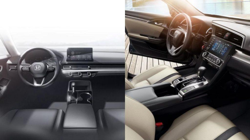 2022 Honda Civic (Sol), 2021 Honda Civic (Sağ)