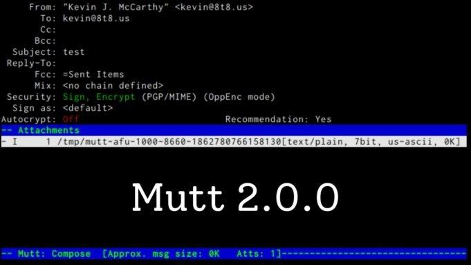 Linux CLI E-posta İstemcisi Mutt 2.0.0 Yayınlandı