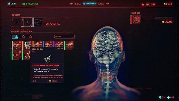 Heal on Kill cyberware in Cyberpunk 2077