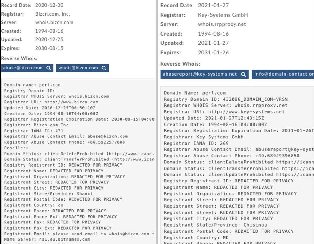 perl domain transfers