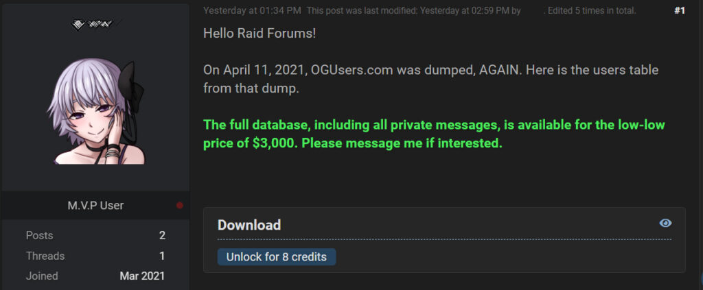 sold on forum
