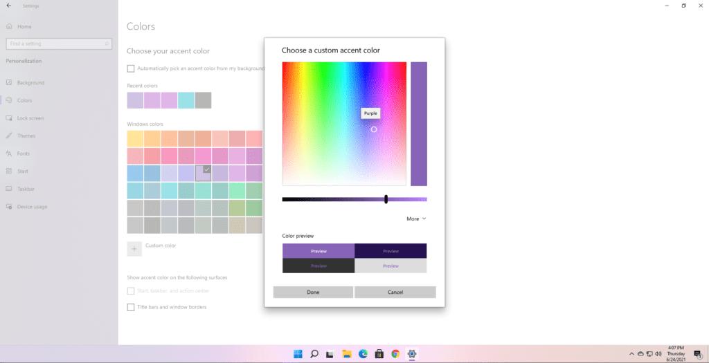 vurgulu renk windows 11